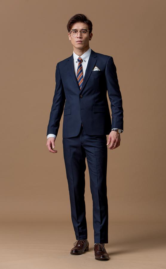 3697 暗格紋西裝外套 深藍