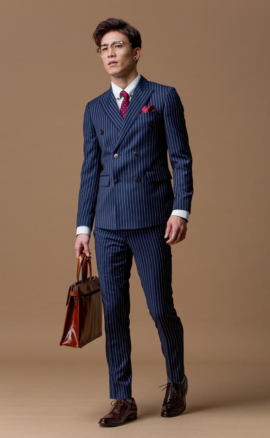 5033 直條紋雙排扣西裝外套 深藍 英倫風
