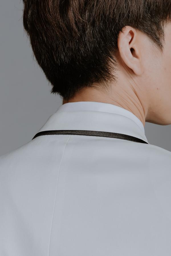 116 素面全滾邊 西裝外套 白色