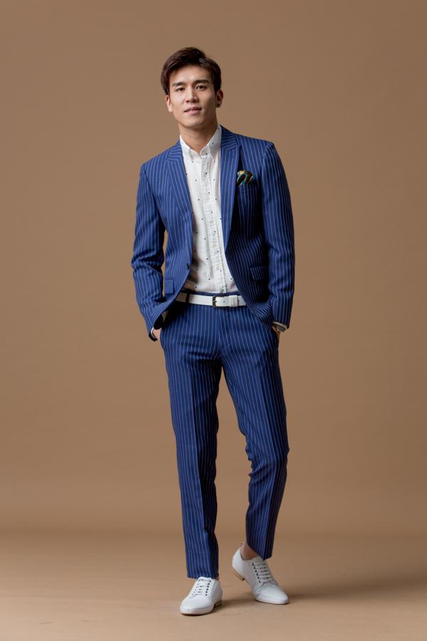 1111 直條紋 西裝褲 藍色