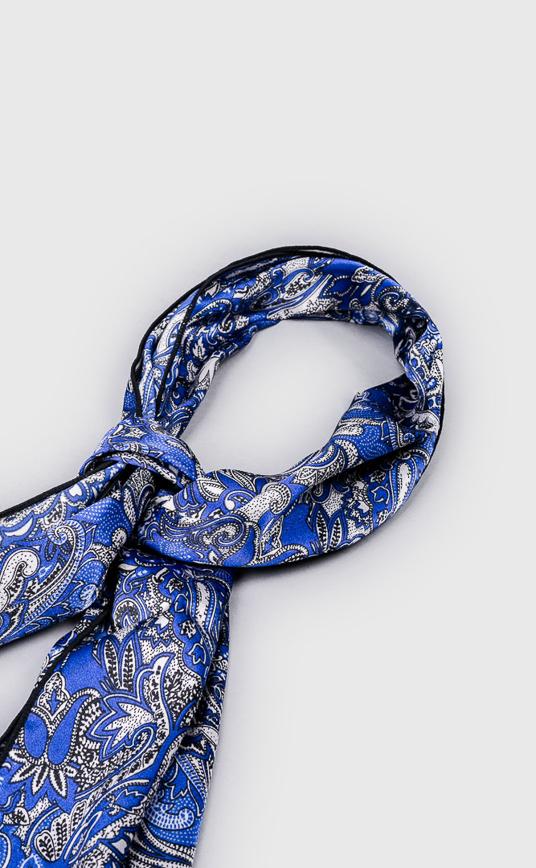 皇家圖騰長絲巾 - 藍色